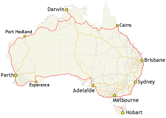 Map of Australia's Highway 1 (highlighted in red)